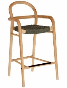 Полубарный стул из эвкалипта Sheryl 54X52X100 CM зелёного цвета