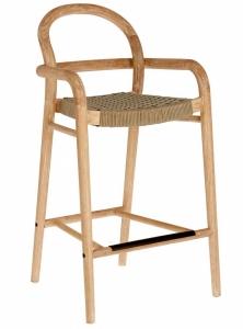 Полубарный стул из эвкалипта Sheryl 54X52X100 CM бежевого цвета