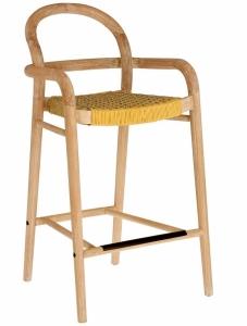 Полубарный стул из эвкалипта Sheryl 54X52X100 CM жёлтого цвета