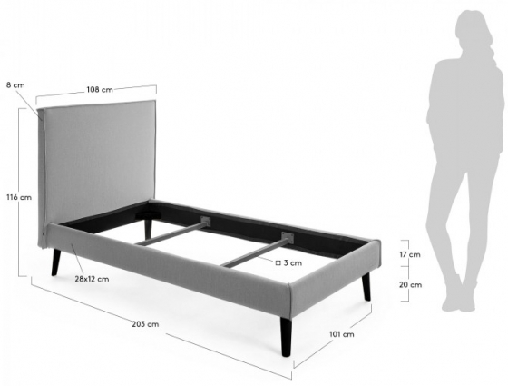 Каркас кровати Venla 90X190 CM серого цвета 9