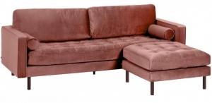 Диван с пуфом Debra 222X178X95 CM розового цвета