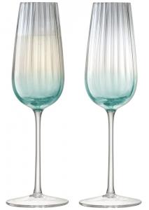 Набор из 2 бокалов-флейт для шампанского Dusk 250 ml зелёный-серый