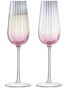 Набор из 2 бокалов-флейт для шампанского Dusk 250 ml розовый-серый