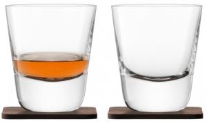 Набор из 2 стаканов Arran Whisky с деревянными подставками 250 ml