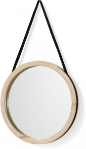 Круглое зеркало на ремне в раме из манго Gyda Ø40 CM
