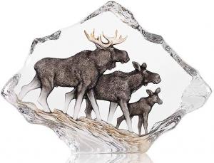 Скульптура из хрусталя Moose Family 26X19 CM