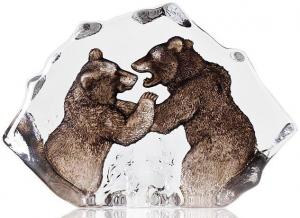 Скульптура из хрусталя Grizzly Bears 19X13 CM