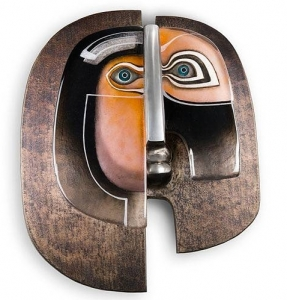 Настенная маска из стали и хрусталя En Face 54X63 CM