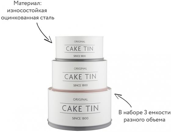 Ёмкости хранения десертов Innovative Kitchen 23X23X15 /  21X21X13 / 19X19X11 CM 2