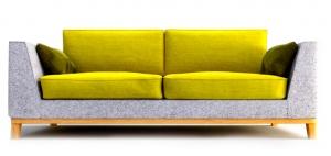 Двухместный диван GASTBY 202X102X85 CM серо-желтый