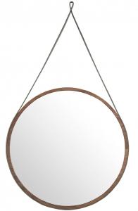Круглое зеркало на ремне в раме из ореха Ø75 CM