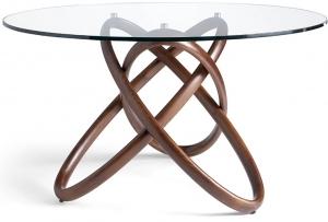 Стеклянный круглый стол 150X150X75 CM на каркасе из ореха