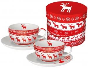 Набор чашек для капучино в подарочной упаковке magic christmas 200 мл