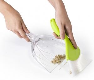 Совок для уборки крошек sparrow прозрачно/зеленый