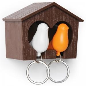 Держатель+брелок для ключей двойной sparrow коричневый/белый/оранжевый