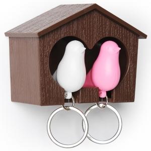 Держатель+брелок для ключей двойной sparrow коричневый/белый/розовый