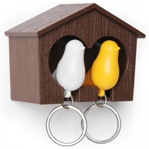 Держатель+брелок для ключей двойной sparrow коричневый/белый/желтый