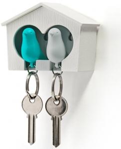 Держатель+брелок для ключей двойной sparrow белый/голубой