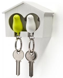 Держатель+брелок для ключей двойной sparrow белый/зеленый