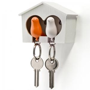 Держатель+брелок для ключей двойной sparrow белый/оранж
