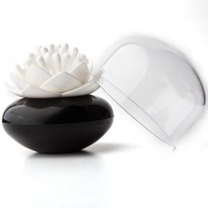 Контейнер для хранения ватных палочек lotus черный/белый