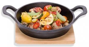 Сковорода чугунная с деревянной подставкой Ø16 CM