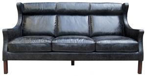Диван кожаный 198X96X105 CM чёрный