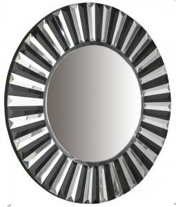 Зеркало в раме из зеркал и чёрного стекла Alberta Ø80 CM
