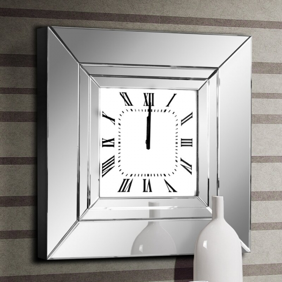 Часы настенные в раме из зеркал Lucy 60X60 CM 5