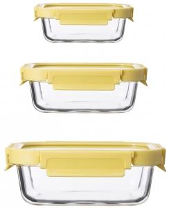 Набор из 3 прямоугольных контейнеров для еды 370 / 640 / 1050 ml