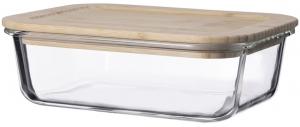 Контейнер для еды стеклянный 1050 ml с крышкой из бамбука