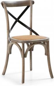 Деревянный стул с сидушкой из ротанга Alsie коричневый