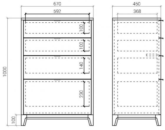 Высокий комод Case 67X45X100 CM 6