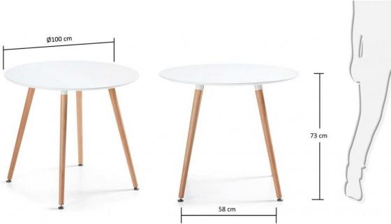 Круглый белый стол Wad 100X100X73 CM 6