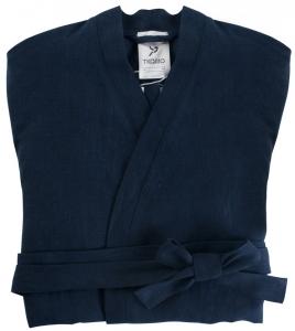 Халат из умягченного льна TK18 S темно-синий