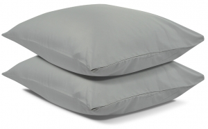 Две наволочки из сатина Essential 70X70 CM светло-серого цвета