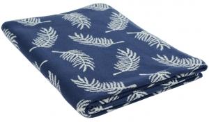 Плед вязаный Fleshy leaves 130X180 CM синего цвета