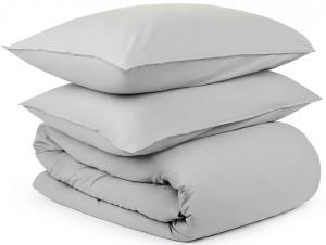 Двуспальный комплект из органического стираного хлопка Essential серого цвета