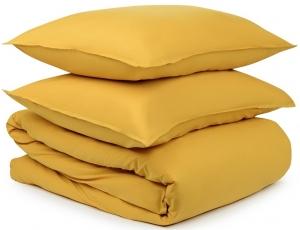 Двуспальный комплект из органического стираного хлопка Essential горчичного цвета