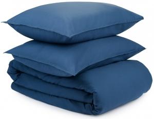 Полутороспальный комплект из органического стираного хлопка Essential темно-синего цвета