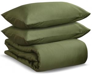 Комплект полутораспальный из сатина Wild оливкового цвета