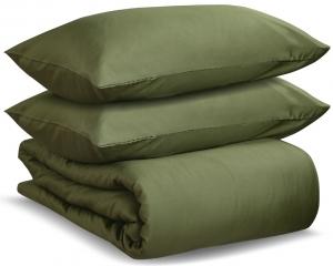 Комплект двуспальный из сатина Wild оливкового цвета