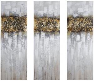 Триптих из 3-х фактурных картин Golden forest 30X90 / 30X90 / 30X90 CM