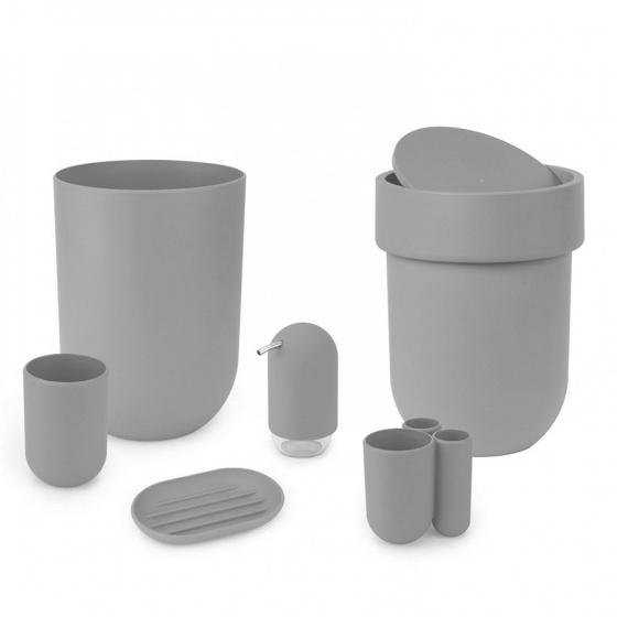 Контейнер мусорный touch с крышкой серый 2