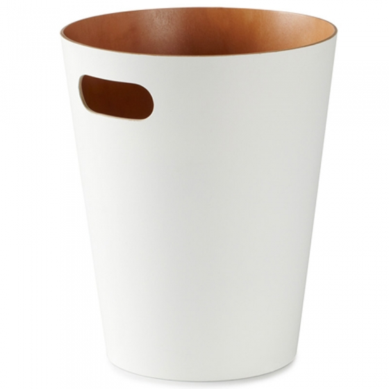 Корзина для мусора woodrow белая/никель 1