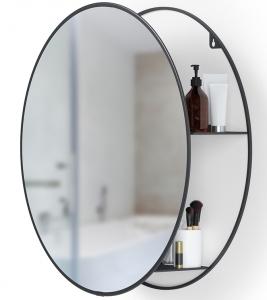 Зеркало настенное с полочкой Сirko Ø50 CM чёрное