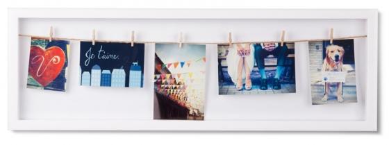Панно с зажимами для 7 фото clothesline белое 1