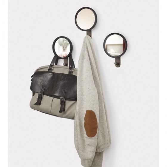 Зеркало-вешалка Hub 15X22X6 CM чёрное/орех 4