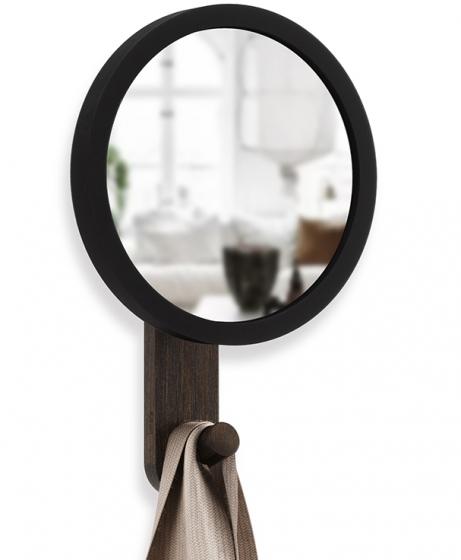 Зеркало-вешалка Hub 15X22X6 CM чёрное/орех 5