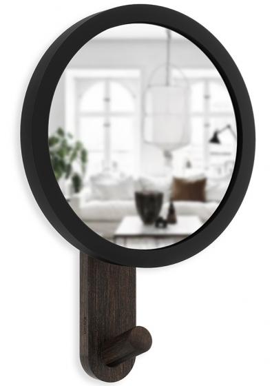 Зеркало-вешалка Hub 15X22X6 CM чёрное/орех 1